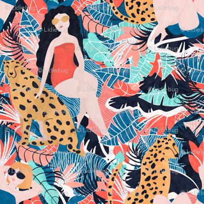 Tropical Girl with Cheetah