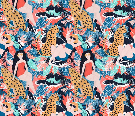 Tropical Girl with Cheetah fabric by lidiebug on Spoonflower - custom fabric