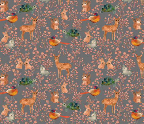 Into the Forest {Stone} fabric by ceciliamok on Spoonflower - custom fabric