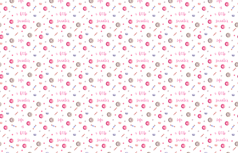 Life is sweet in pink  fabric by lub_by_lamb on Spoonflower - custom fabric