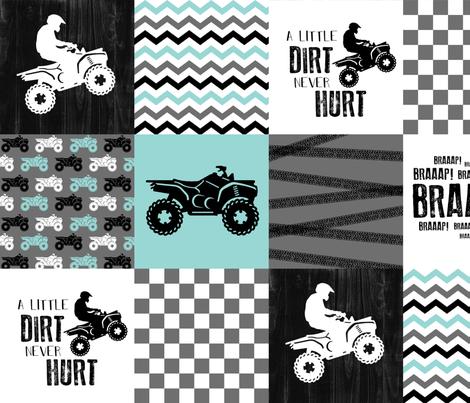 4 Wheel/ATV/A little Dirt Never Hurt - Wholecloth Cheater Quilt fabric by longdogcustomdesigns on Spoonflower - custom fabric