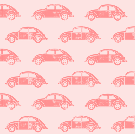 vintage cars - pink fabric by littlearrowdesign on Spoonflower - custom fabric