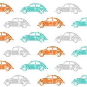 vintage cars - multi (orange, teal, grey)