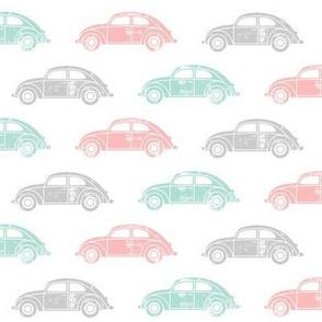 vintage cars - multi (pink, aqua, grey)