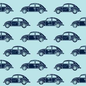 vintage cars - navy on blue