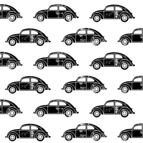 vintage cars - black on white fabric by littlearrowdesign on Spoonflower - custom fabric