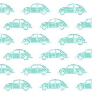 vintage cars - aqua on white