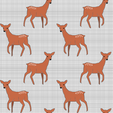 Deer on Linen small scale fabric by mrshervi on Spoonflower - custom fabric