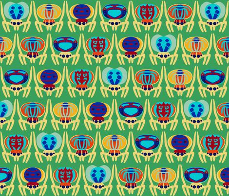 peacock spiders on green fabric by mongiesama on Spoonflower - custom fabric