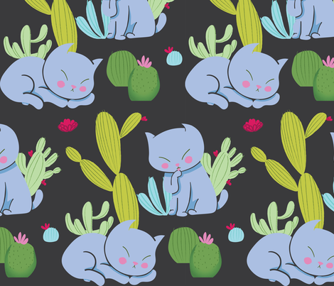 Desert Cat Pattern fabric by paperondesign on Spoonflower - custom fabric