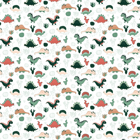 Succulents Dinos (small scale) fabric by gabriellemutel on Spoonflower - custom fabric