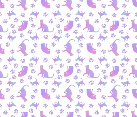 Cats Purple white fabric by karwilbedesigns on Spoonflower - custom fabric