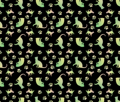 Cats green blk fabric by karwilbedesigns on Spoonflower - custom fabric
