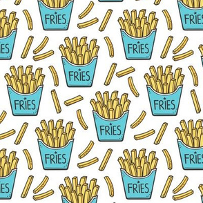French Fries Fast Food Blue on White Smaller 2 inch