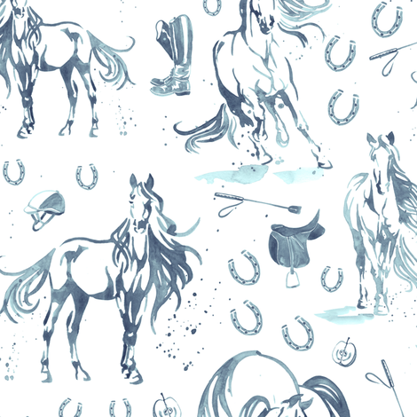 Running With Horses in Denim - Medium fabric by gingerlique on Spoonflower - custom fabric
