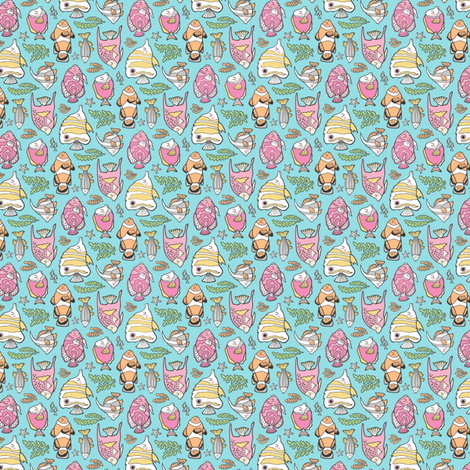 Tropical Fish Pink on Blue Tiny Small Rotated fabric by caja_design on Spoonflower - custom fabric