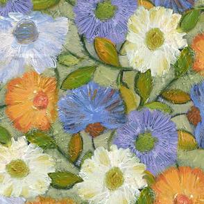 Wild Flowers lavender orange sage cream L