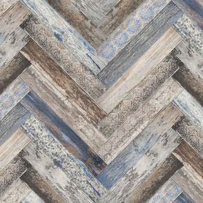 Vintage Wood Tiles Herringbone Capri Blue