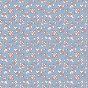 Folk floral - duck blue and pink