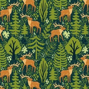 Deer in the forest. Small scale.