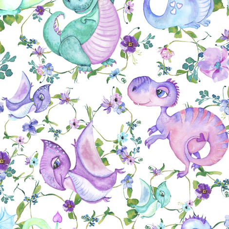 Girl dinosaur and dragons fabric by lil'faye on Spoonflower - custom fabric