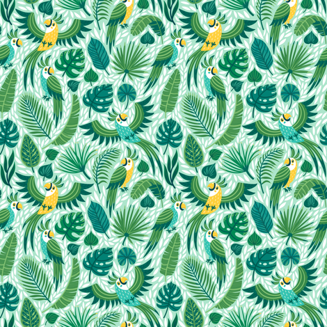 Parrots in the jungle. Small scale fabric by magicforestory on Spoonflower - custom fabric