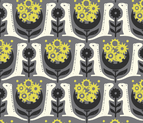 13 Lined Ground Squirrel in gray fabric by meduzy on Spoonflower - custom fabric