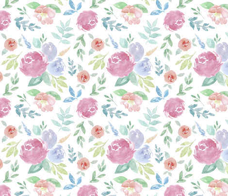 Rosie Watercolour Floral on White Medium fabric by sylviaoh on Spoonflower - custom fabric