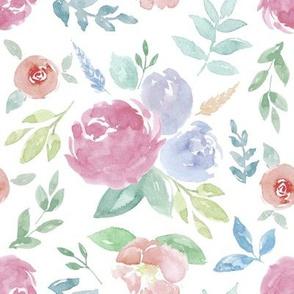 Rosie Watercolour Floral on White Medium