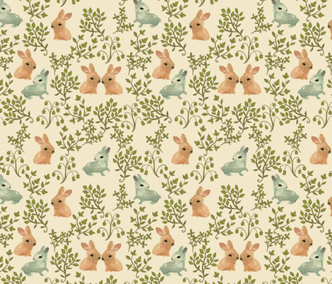 Rabbits in the Meadow fabric by ceciliamok on Spoonflower - custom fabric