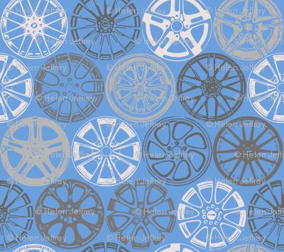Wheels on blue