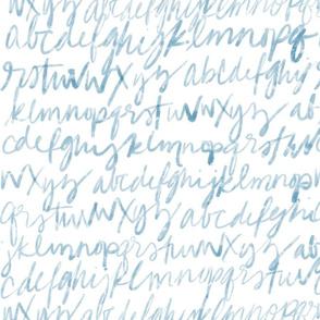 Blue Calligraphy Alphabet