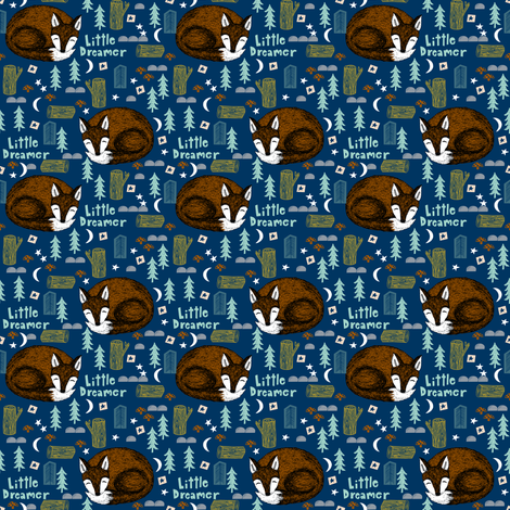 little dreamer (smaller scale)// sleeping fox navy blue cute kids camping forest woodland bear cute design fabric by andrea_lauren on Spoonflower - custom fabric