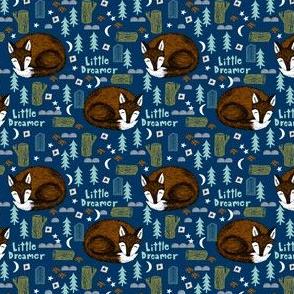 little dreamer (smaller scale)// sleeping fox navy blue cute kids camping forest woodland bear cute design