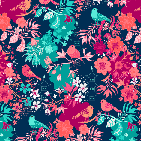 Japanese Garden Smaller Scale fabric by jill_o_connor on Spoonflower - custom fabric