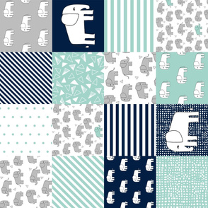 elephants cheater quilt (6 inches) // navy and mint squares fabric nursery baby design cheater quilts