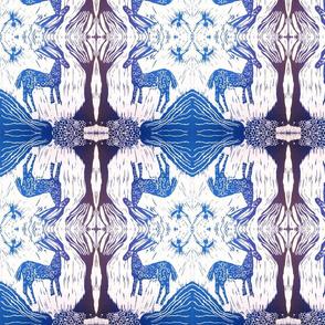 blue deer with owl