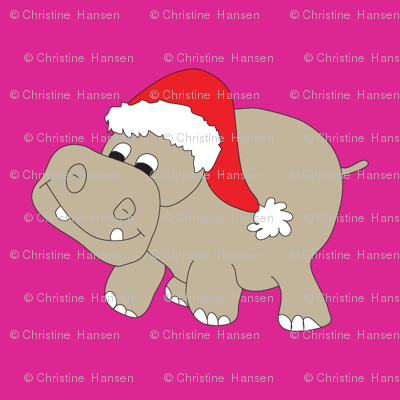 "Santa Hippo Pink Background 3"""
