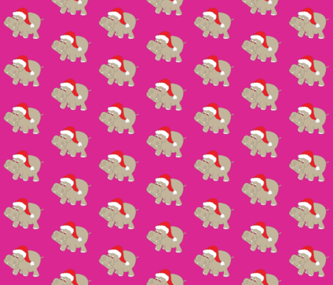 """Santa Hippo Pink Background 3"""" fabric by coveredbydesign on Spoonflower - custom fabric"""