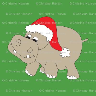 "Santa Hippo Green Background 3"""
