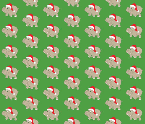 """Santa Hippo Green Background 3"""" fabric by coveredbydesign on Spoonflower - custom fabric"""