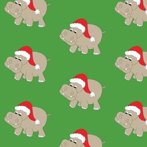 Santa Hippo Green Background 3""