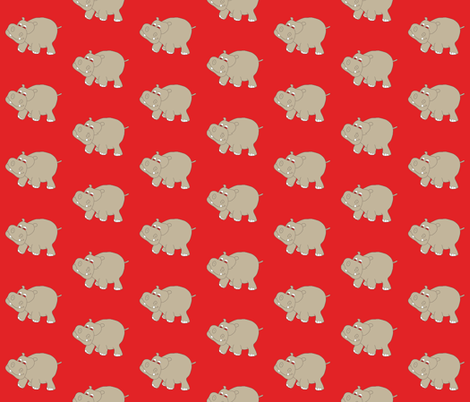 "Red Hippo 3"" fabric by coveredbydesign on Spoonflower - custom fabric"