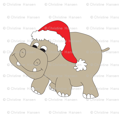 Santa Hippo White Background 3""