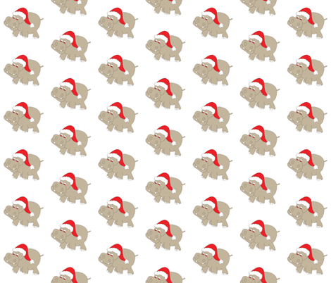 "Santa Hippo White Background 3"" fabric by coveredbydesign on Spoonflower - custom fabric"
