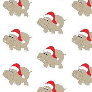 """Santa Hippo White Background 3"""""""