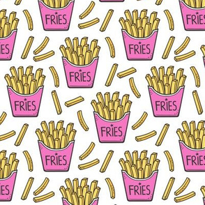 French Fries Fast Food Pink on White Smaller 2 inch