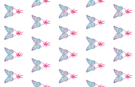 Butterchute - Teal and Pink - Sideways fabric by digital_caiman_designs on Spoonflower - custom fabric