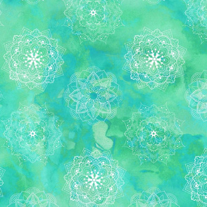 Watercolor Mandala Green Blue