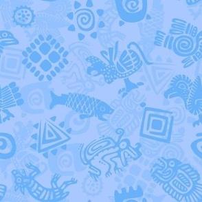 Polynesian Symbols in Mod Blue